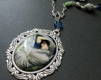 Art Nouveau Necklace. Waterhouse Necklace. Beaded Necklace. Boreas Necklace. Teal Blue Necklace. Silver Necklace. Handmade Necklace.