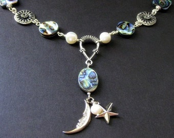 Celestial Necklace. Abalone Shell Necklace. Moon Necklace. Fresh Water Pearl Necklace. Silver Necklace. Handmade Necklace. Handmade Jewelry.