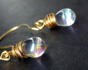 Clear Glass Teardrop Earrings, Gold Wire Wrapped. Handmade Jewelry by Gilliauna