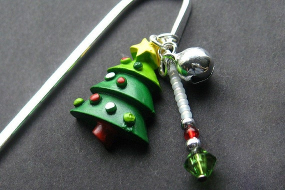Beaded Book Charm, Christmas Tree Bookmark in Silver. Handmade.