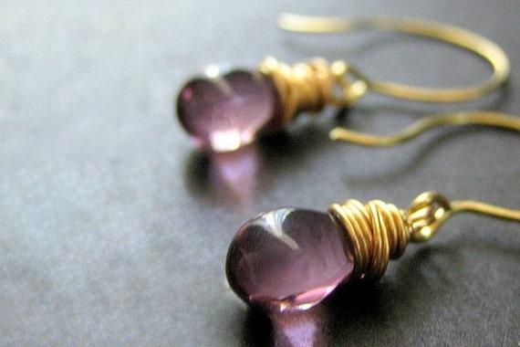 Amethyst Glass Teardrop Wire Wrapped Earrings in Gold - Elixir of Mystery. Handmade Earrings.