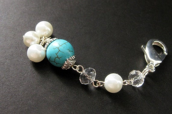 Turquoise and Pearl Charm. Turquoise Charm, Handmade Beaded Charm. Phone Charm, Key Chain, Wallet Charm or Zipper Pull.