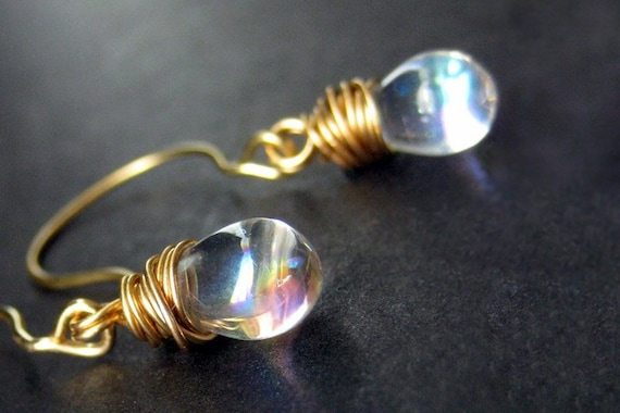 Clear Glass Teardrop Earrings, Gold Wire Wrapped. Handmade Jewelry by Gilliauna