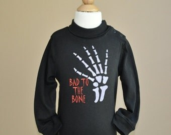Bad To The Bone Halloween Embroidery Design Skelton
