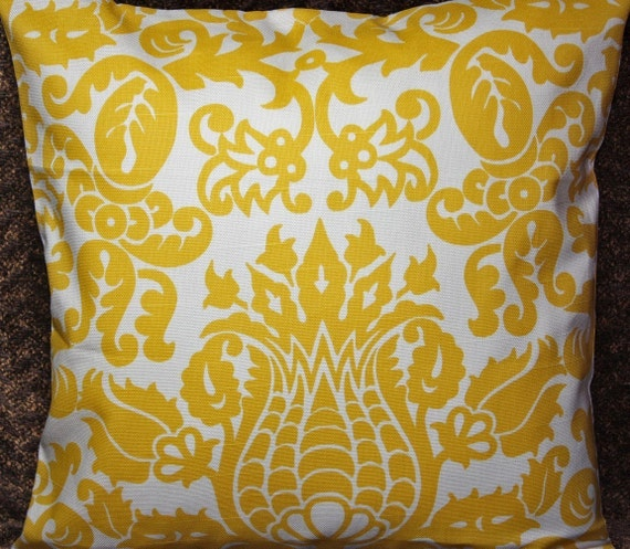 FREE SHIPPING - Set of Two 26x26 inch Designer Pillow Covers - Linen Appearance Corn Yellow on a White Background.