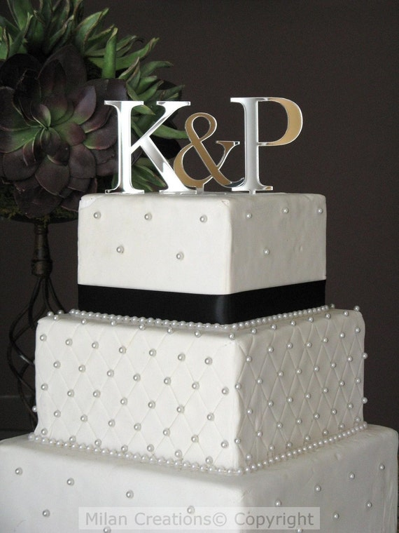 3 Initials Monogram Cake Topper For Wedding Cake By MilanCreations