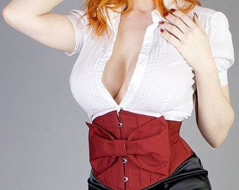 Bloom Waist Cinching Underbust Waspie Corset (Removable Bow) - CUSTOM your SIZE and COLOR