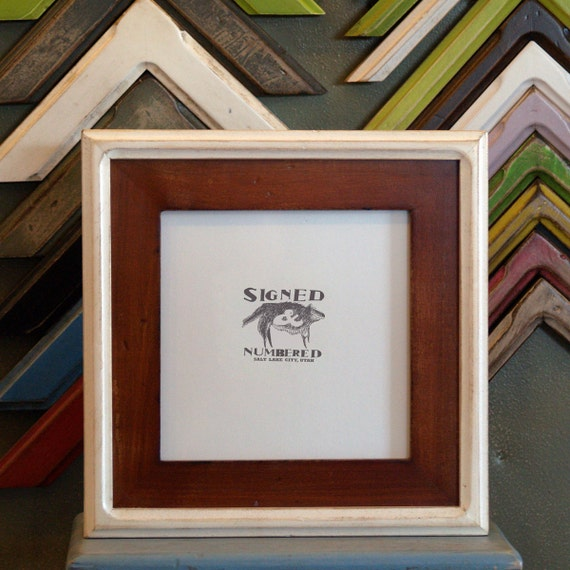 7x7 Square Picture Frame with Vintage Wood Tone Finish in Vintage White Double Cove Build Up - SAME DAY SHIPPING