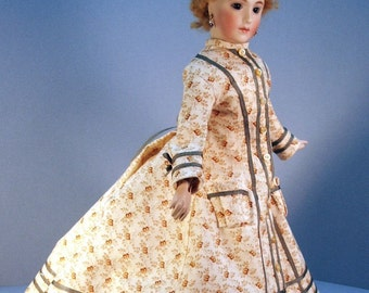 French fashion doll clothing pattern for 1870 Morning Wrapper for 12 inch French Fashion dolls