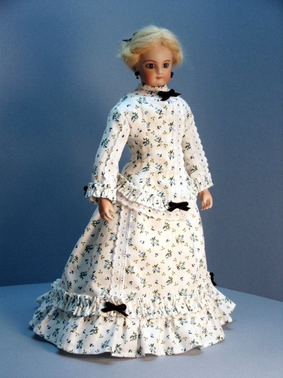 French Fashion doll clothing pattern for an 1860s MORNING DRESS for 12 inch French Fashion dolls