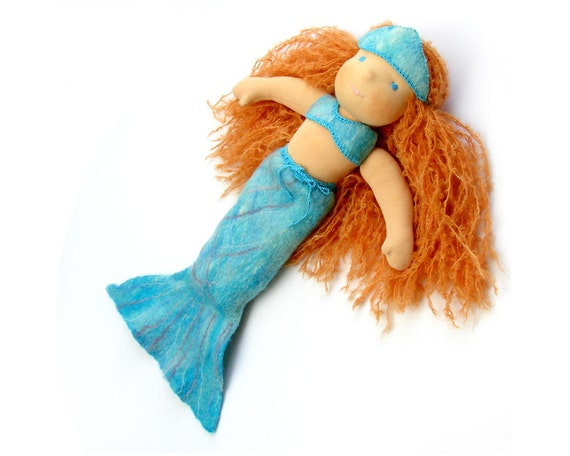 Ariel mermaid waldorf doll felted clothes. oaok customised eco friendly gifts for kids