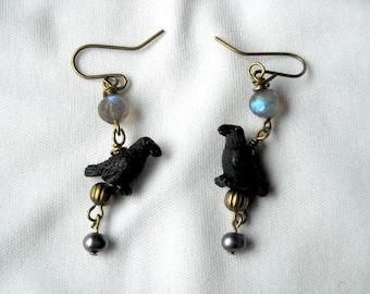 Raven Earrings Huginn and Muninn With Labradorite and Pearl Beads