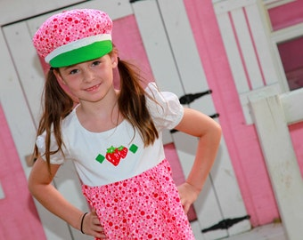 Strawberry Shortcake inspired costume. Dress, Hat and tights   Handmade  to Order. Girls Size 2-10