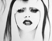 Lady Gaga Pencil Drawing Fine Art Portrait Print Hand Signed