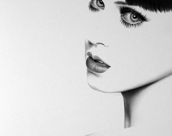Katy Perry Pencil Drawing Fine Art Portrait Signed Print