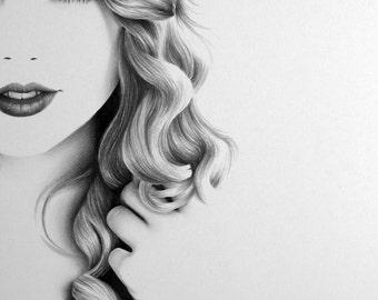 Taylor Swift  Pencil Drawing Fine Art Portrait Print Signed by Artist