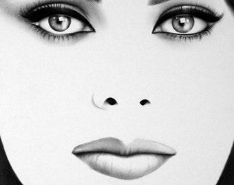 Sophia Loren Pencil Drawing Fine Art Print Signed by Artist