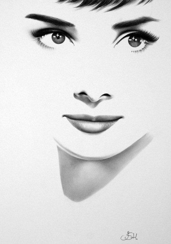 Audrey Hepburn Pencil Drawing Portrait Classic Hollywood Vintage Glamour Beauty 1950s Fine Art Print Hand Signed