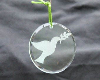 Glass Ornament - Dove with Olive Branch
