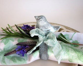Cottage Chic Bird Napkin Rings White and Aqua Blue Set of 4