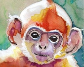 Monkey Watercolor Painting Print, Artist Signed