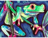 Red-Legged Treefrog Watercolor Painting Print, Artist-Signed