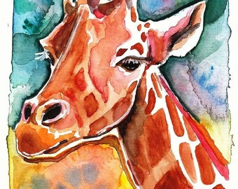 Giraffe Watercolor Painting Print, Artist-Signed