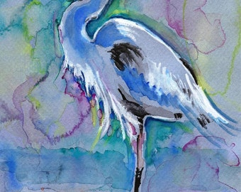 POSTER SIZED Great Blue Heron Watercolor Painting Print, Artist-Signed