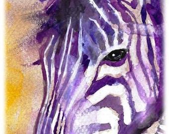 Zebra Watercolor Painting Print, Artist-Signed