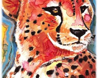 Cheetah Watercolor Painting Print, Artist-Signed