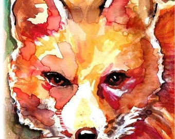 Red Fox Watercolor Painting Print, Artist-Signed