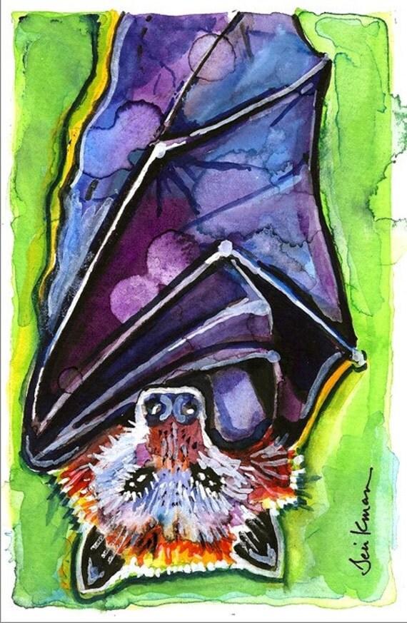 Fruit Bat (Flying Fox) Watercolor Painting Print, Artist-Signed