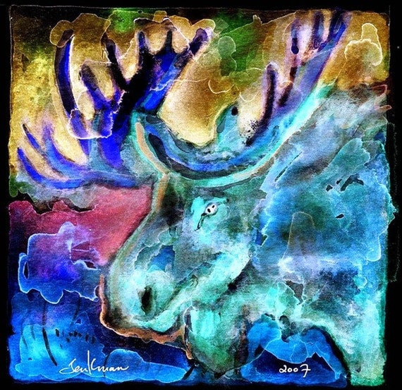 Bull Moose-- Artist Signed Watercolor Print
