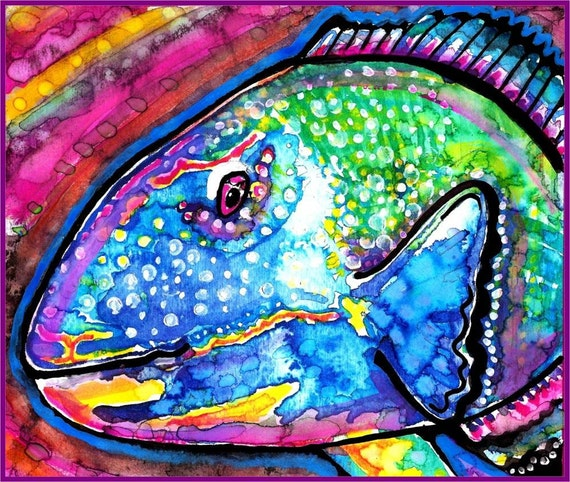 Parrot Fish Watercolor Painting Print, Artist-Signed