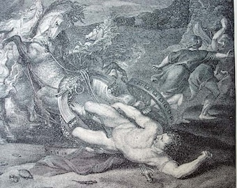 The Death of Hippolytus - 1892 Vintage Book Photogravure