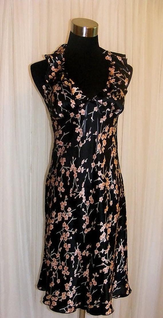 RESERVED Vintage Charmeuse Cherry Blossom Ruffle Halter Dress US-4