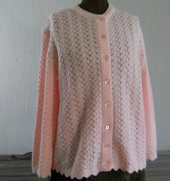 Sweater Pink Cardigan Sweater Vintage Styled by Rose