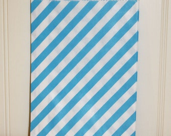 Paper Bags 24 Blue Candy Stripe Favor Treat Bags, Party Favor Bag, Candy Bag,  Wedding Favor Bag, Birthday Favor Treats,  Gift Packaging Bag