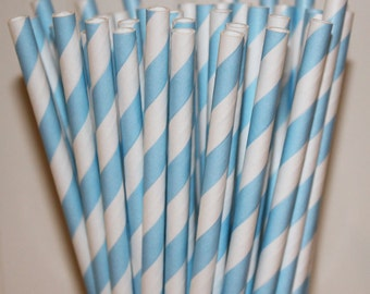 Paper Straws, 50 Powder Blue Striped Paper Straws, Paper Drinking Straws,  Milk and Cookies Party Paper Straw, Birthday Party Paper Straws,
