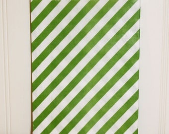 Paper Bag, 24 Green Candy Striped Party Favor Bags, Party Treat Bags, Candy, Christmas Baking Supplies, Packaging, Bakery Bag, Party Favors