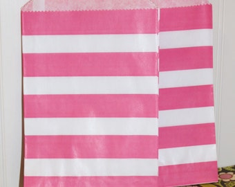 Paper Bags, 24 Pink Sailor Striped Favor Bags, Pink Paper Bags, Baby Reveal Party, Wedding Favor Bag, Candy Bag, Baby Shower, Packaging Bags