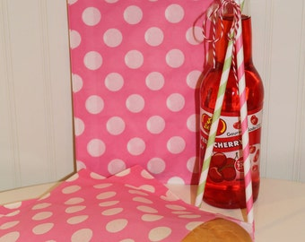 Paper Sandwich Bags -  20 PINK POLKA DOT Sandwich Bags, Large Party Favor Treat Bag, Bakery, Wedding, Candy Buffet, Kids Party, Girls