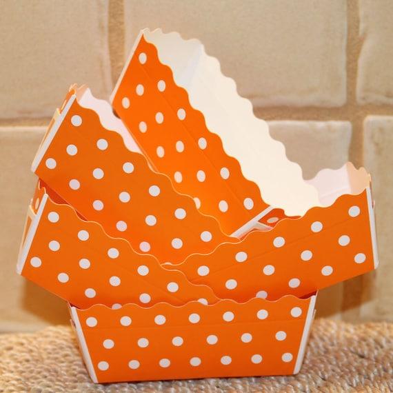 Paper Loaf Baking Pans Set Of 12 Mini Orange Dot Baking