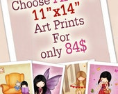 11x14 art prints for children room, boys or girls wall art, nursery decor, choose any 4 for a special price