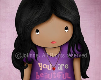 African american Dark skin girl art print , kids wall art , children purple bedroom decor, famous quote You are beautiful inside and out art