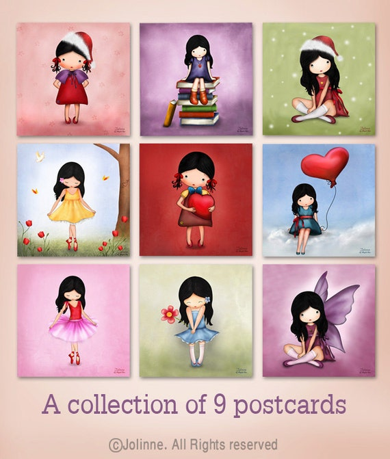 Set of 9 Kids room art prints holiday card set , children wall art , cute illustrations , Christmas cards mini prints