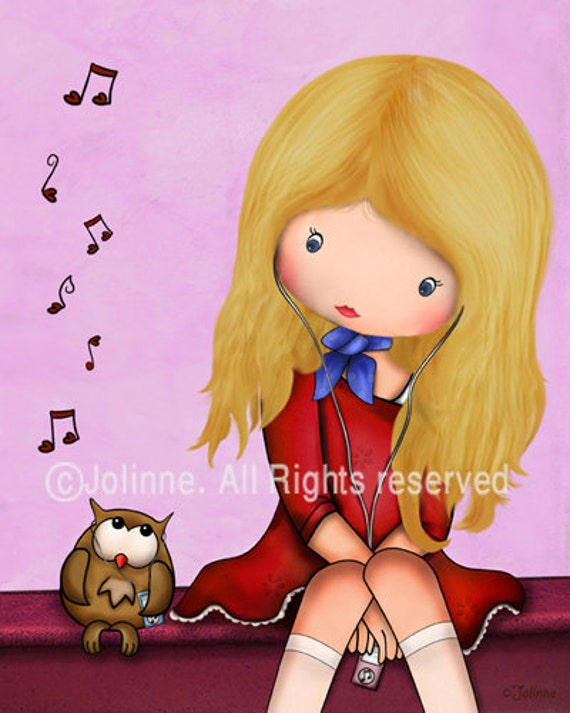 Girl and Owl kids wall art kids art girls wall art wall art prints art for nursery playroom sign girl nursery decor children illustration