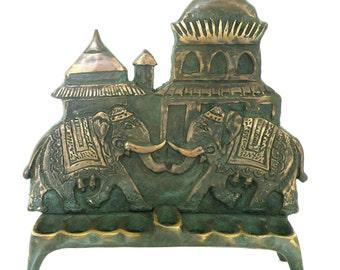 Indian style elephant design chanukah menorah made by Shaul baz