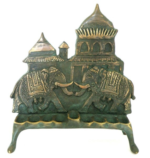 Indian style elephant design chanukah menorah made by Shaul baz