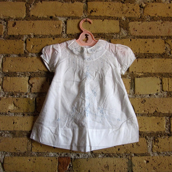 Childs Size 1-2T Cotton Summer Dress 60s / Pintucked Yoke and Embroidered Detail